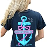 Southern Attitude Salty Anchor Navy Blue Preppy Short Sleeve Shirt