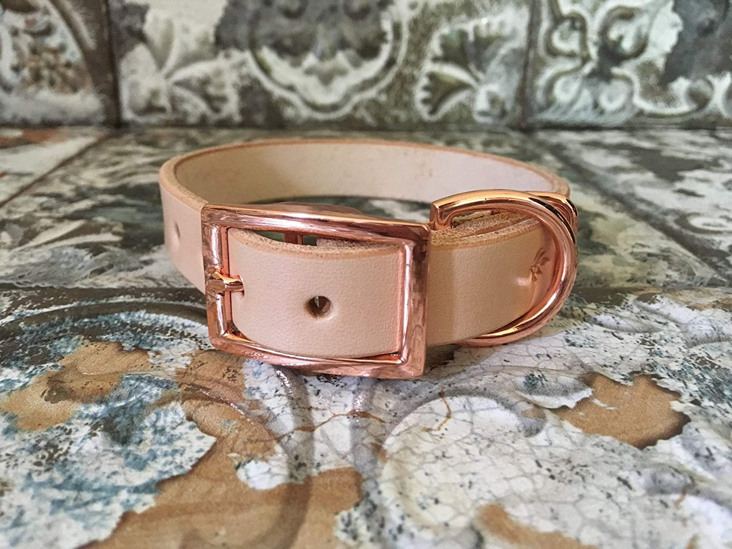 FREE Foil Embossed Name Choose Your Font Handmade Personalized Natural Veg Tan Leather Dog Collar Rose Gold -Tone Hardware