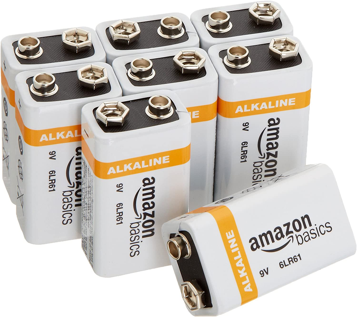 AmazonBasics 9 Volt Everyday Alkaline Battery - Pack of 8