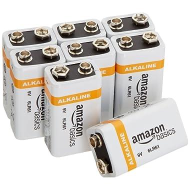 AmazonBasics 9 Volt Everyday Alkaline Batteries (8-Pack)