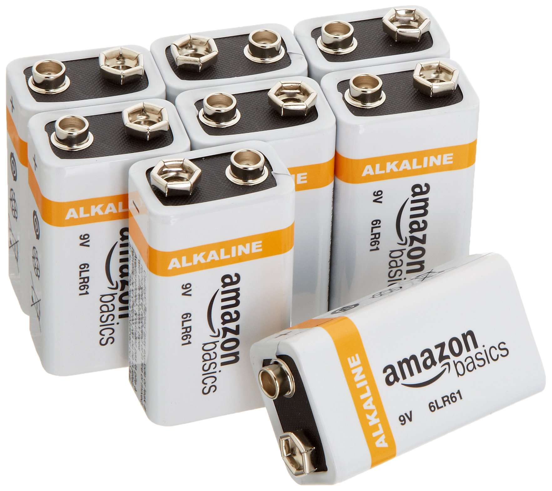 AmazonBasics 9 Volt Everyday Alkaline Batteries (8-Pack) product image