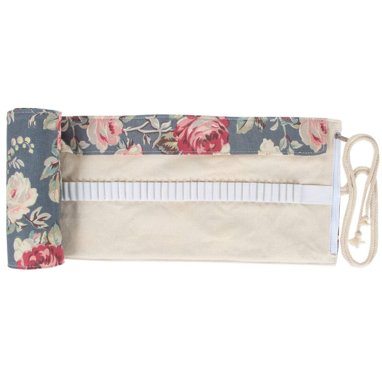 Damero Wrap Leinwand Stifterolle für 48 Buntstifte und Bleistifte Stifteetui Roll-up Mäppchen für Künstler (Peony, 48 Hole)