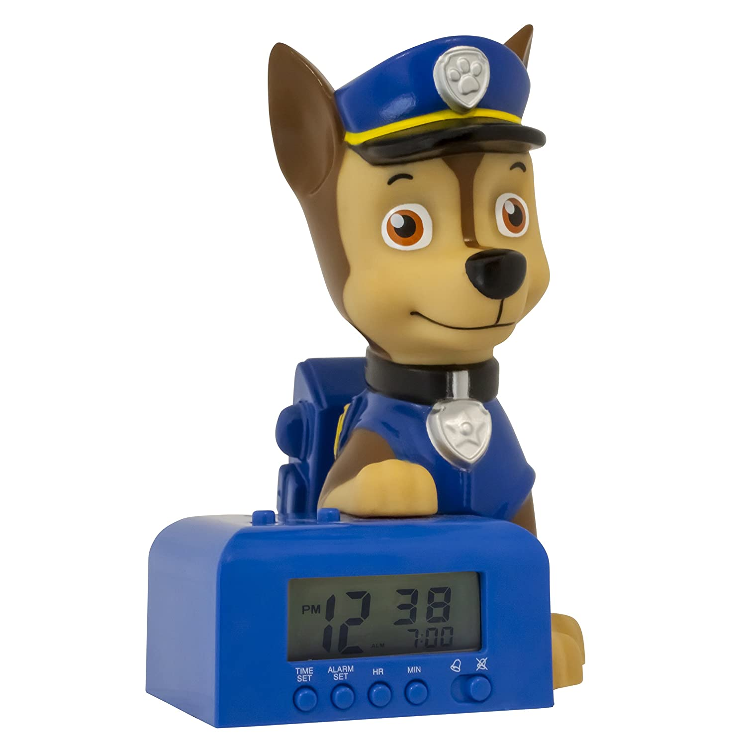 Bulb Botz Paw Patrol 2021302 Chase Kids Night Light Alarm Clock with Characterised Sound, 5.5 inches Tall