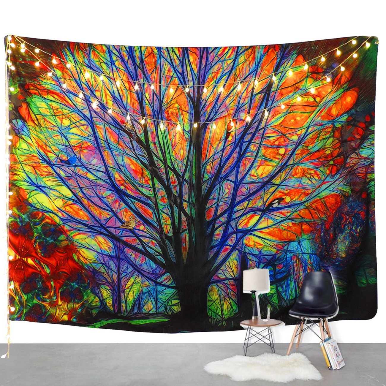 Amkun Colorful Tree Tapestry Wall Hanging Psychedelic Forest with Birds Mandala Hippie Bohemian Tapestry Wall Hanging , Wall Tapestry with Art Nature Home Decorations for Table Cloth ,Living Room, Bedroom Dorm Decor (Tree, 51.2