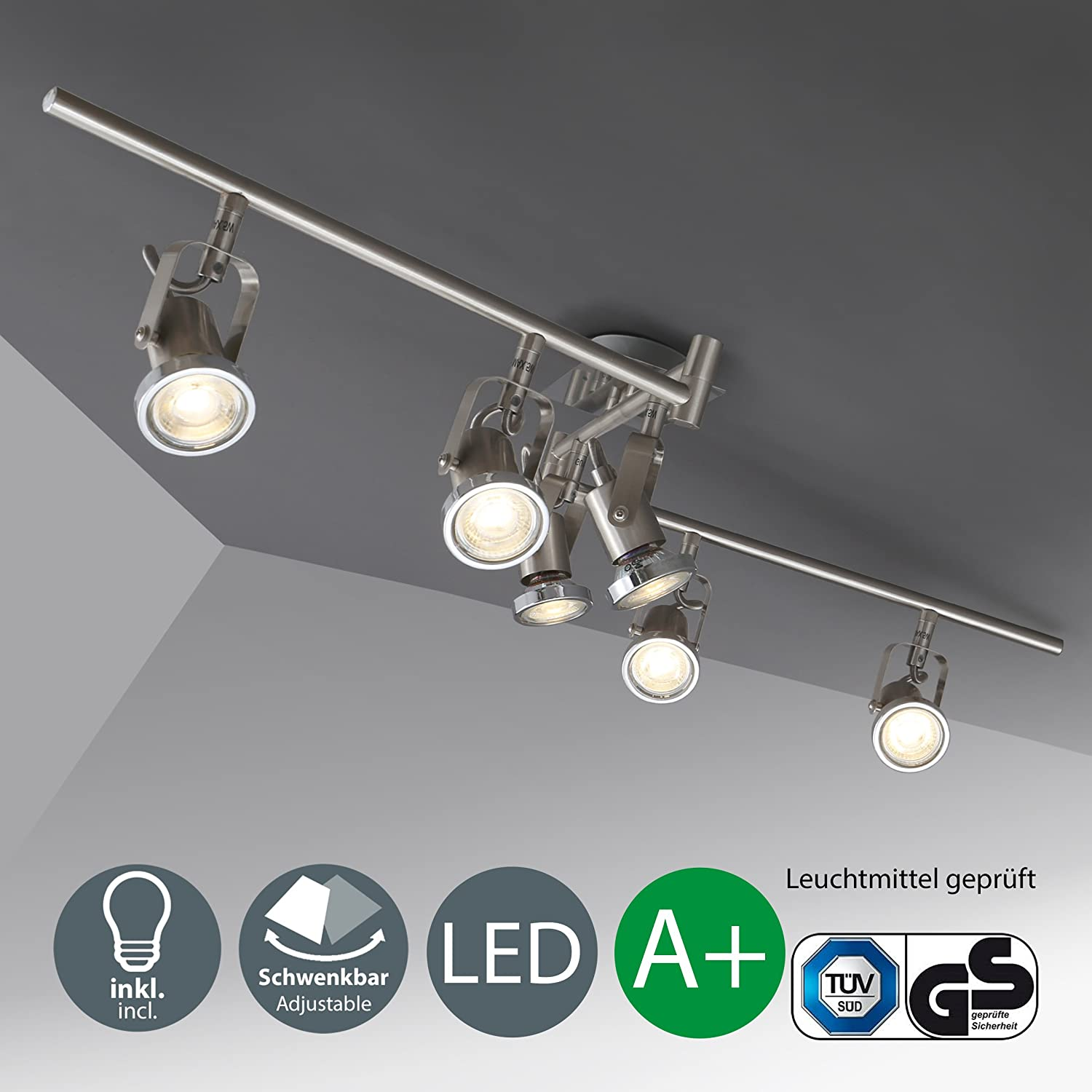 LED ceiling light | ceiling-mounted swivel lamp | 3 bulbs | incl. 3 x 5 W bulbs | with movable ceiling spots | living room lamp | 3 spotlights | modern ceiling spotlights | metal | colour: matte nickel | 230V | GU10 | IP20 [Energy Class A+] B.K.Licht