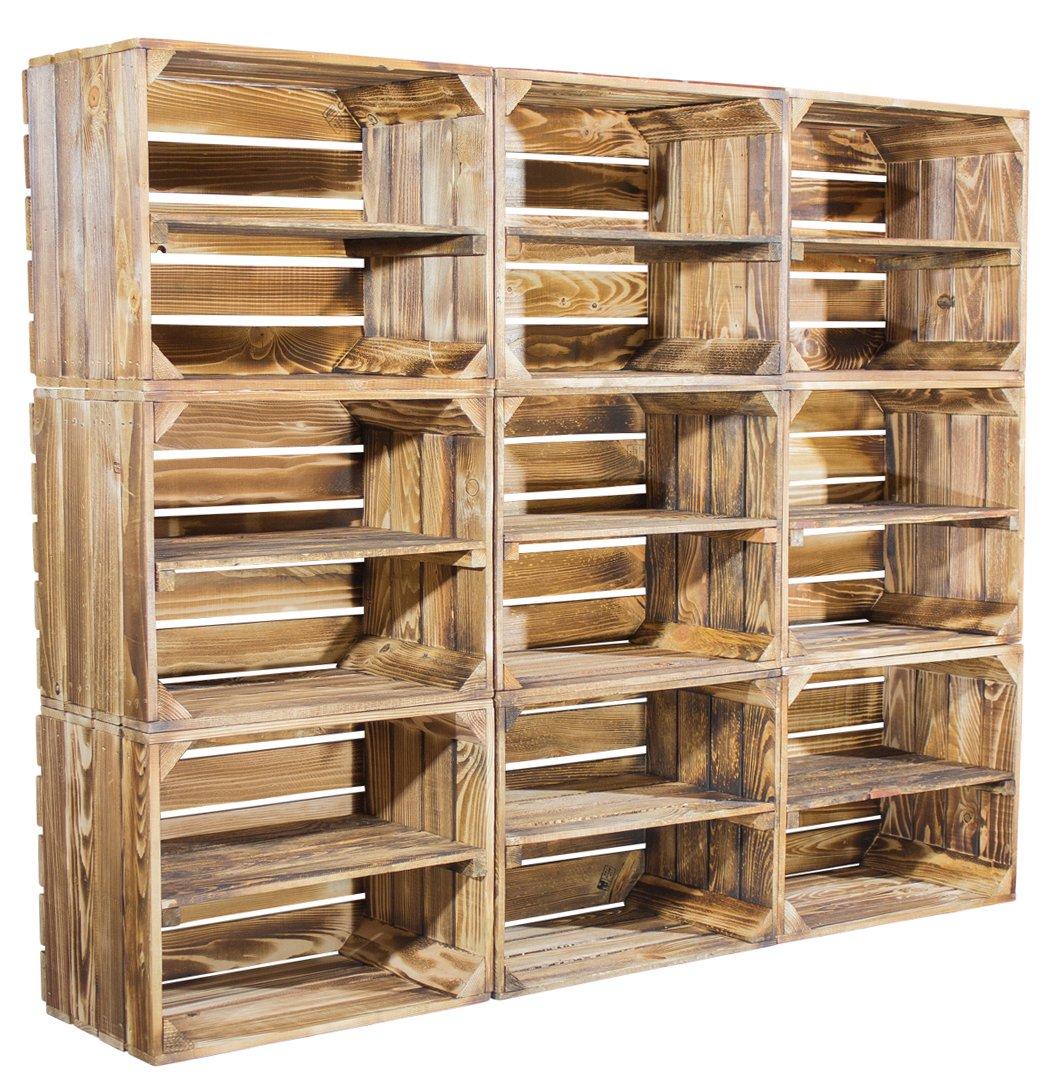 9er-Set Apfelkisten aus geflammtem Holz mit zusätzlichem Mittelbrett als Schuh- oder Bücherregal