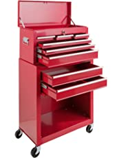 Arebos Tool Trolley red lockable (9 Drawers)