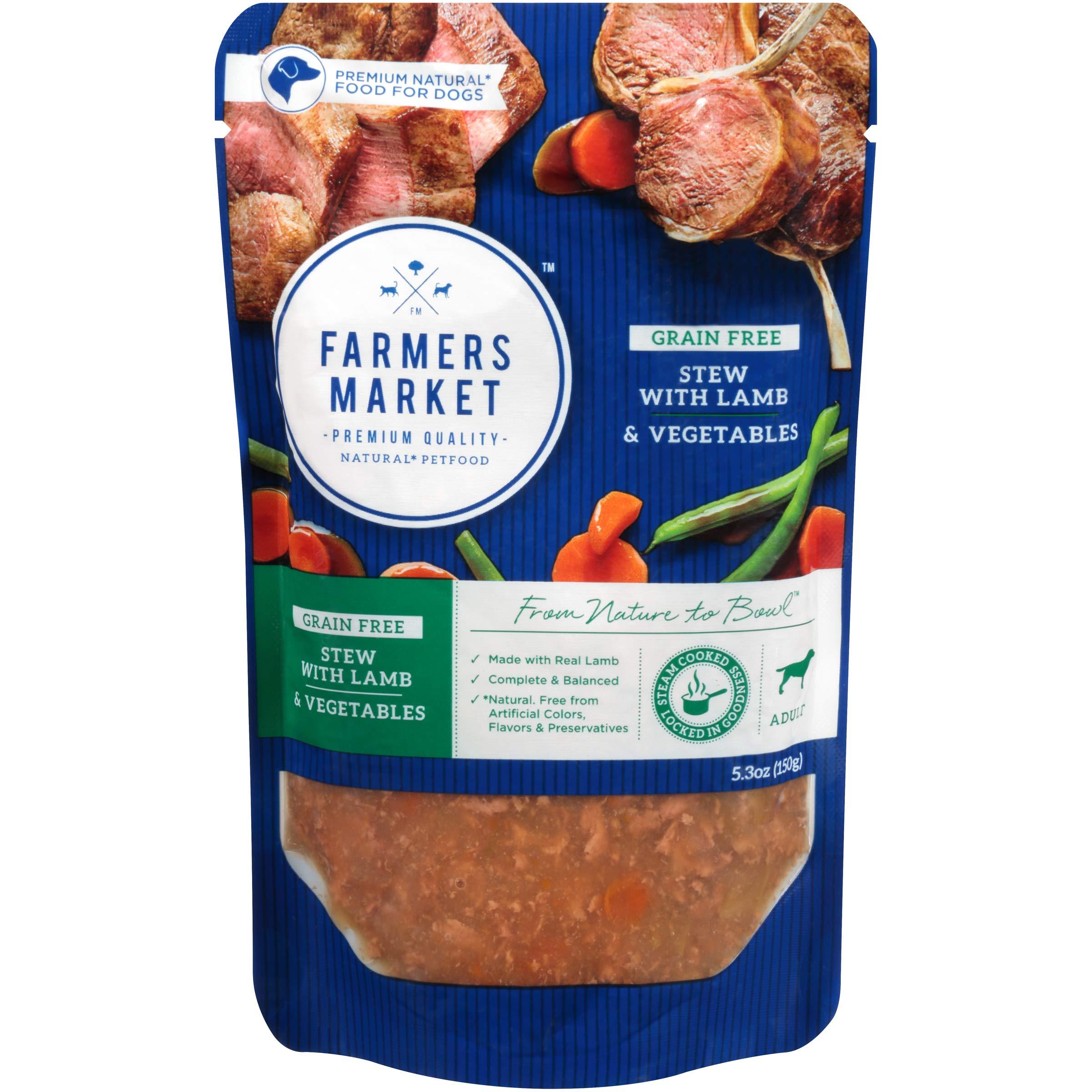 Farmers Market Pet Food Premium Natural Grain-Free Wet Dog Food Pouch, 5.3 oz, Lamb & Vegetables (Case of 24) by Farmers Market Pet Food