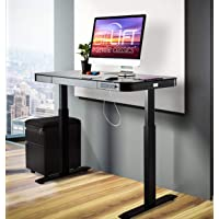 Seville Classics OFF65871 Airlift Tempered Glass Electric Standing Desk with Drawer, 2.4A USB Ports, 3 Memory Buttons…