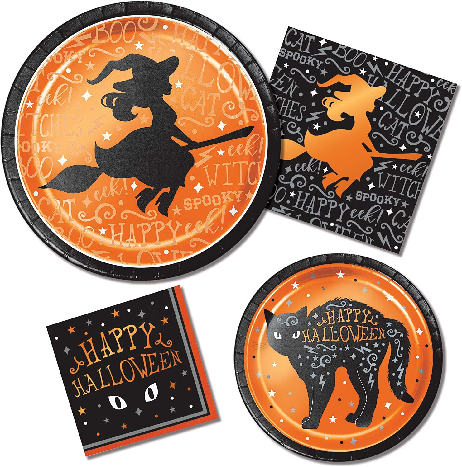 Halloween Witch Paper Plates and Napkin Sets
