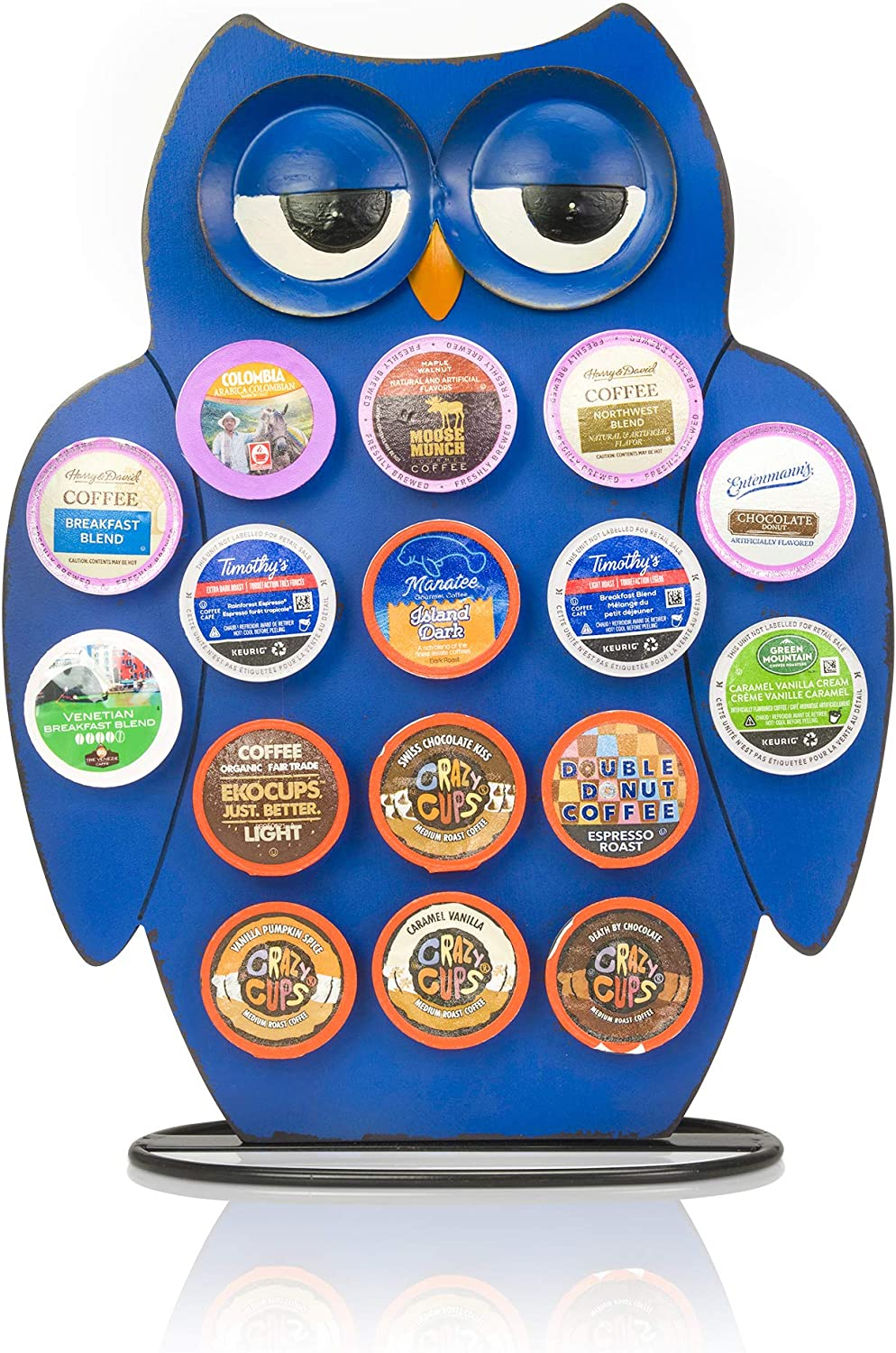 Front Facing Countertop Coffee Pods Holder Compatible with K-Cups, Coffee Bar Decor for Home Cafe (Blue Owl)