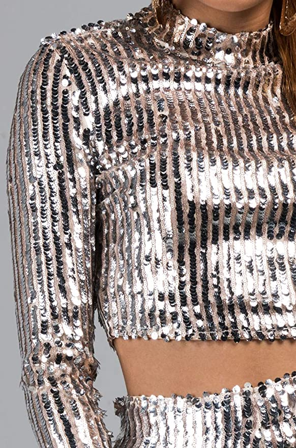 0e8df0f5a445a9 AKIRA Women s Silver Sequin Stripes Nude Mesh Stretch Mock Neck Long Sleeve  Crop Top at Amazon Women s Clothing store