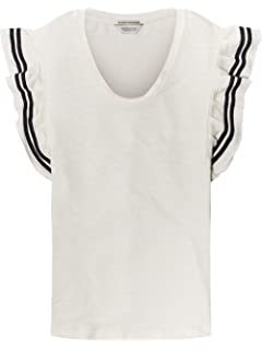 Scotch   Soda Tee in Special Jersey with Ruffle Sleeve, T-Shirt Femme 1c7bd81c8d37