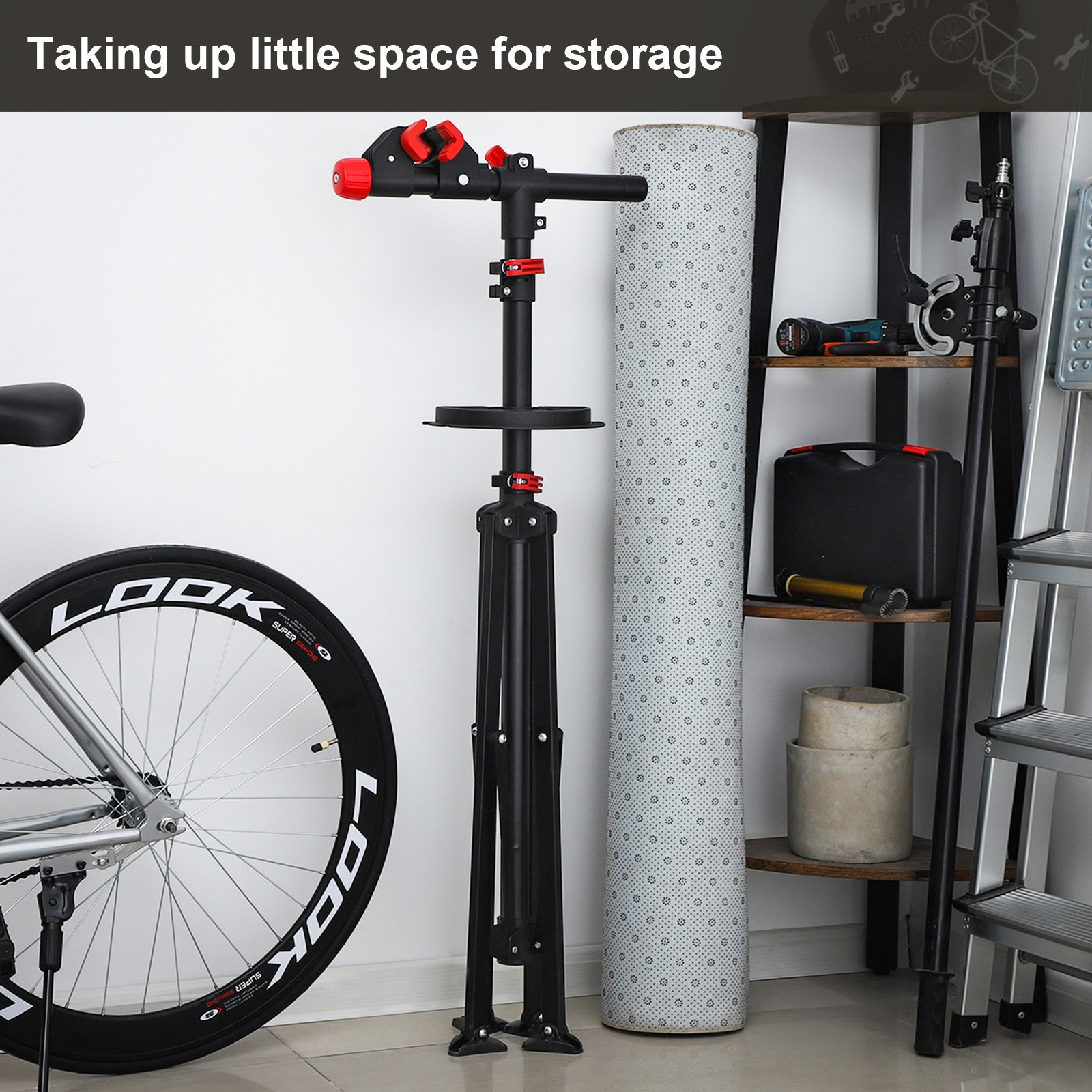 SONGMICS Pro Mechanic Bike Repair Stand with Tool Tray Telescopic Bicycle Maintenance Rack Workstand Lightweight and Portable USBR02B by SONGMICS (Image #5)