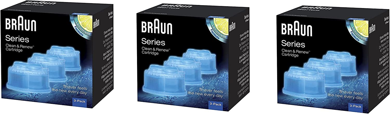 Braun Clean and Renew Cartridge, Refill, Replacement Cleaner, Cleaning Solution CCR (9 Pack)