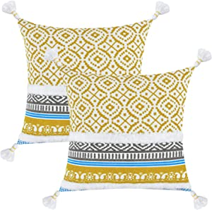 2 Pack Boho Tufted Decorative Pillow Covers Bohemian Throw Pillow Cases with Tassels Accent Decor Pillow Covers Modern Moroccan Style Woven Pillow Cases for Couch Sofa Bed 18x18 Inches, Yellow