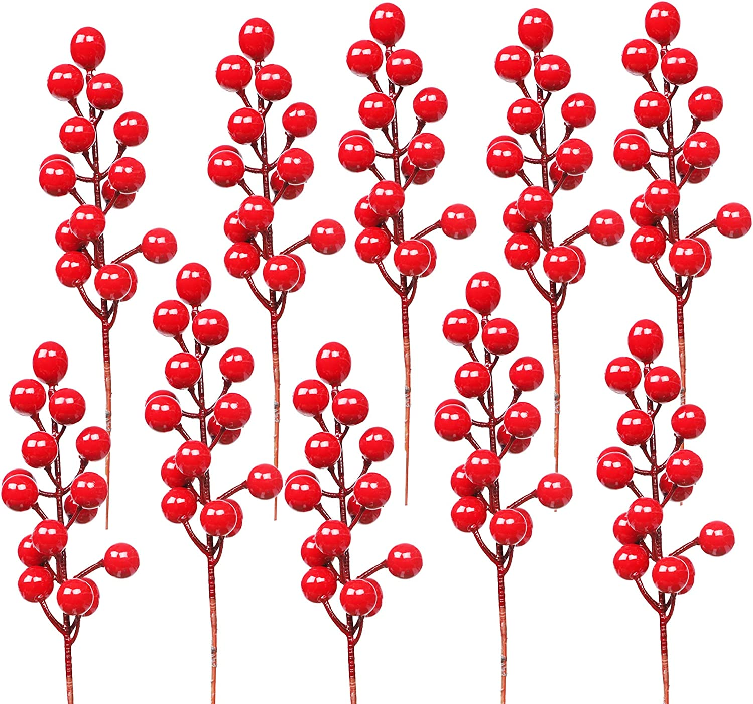 DR.DUDU 24 Pack Christmas Red Berries Stems for Christmas Tree Decoration, Artificial Christmas Red Berry for DIY Crafts Wreath Garland Christmas Ornaments Decor