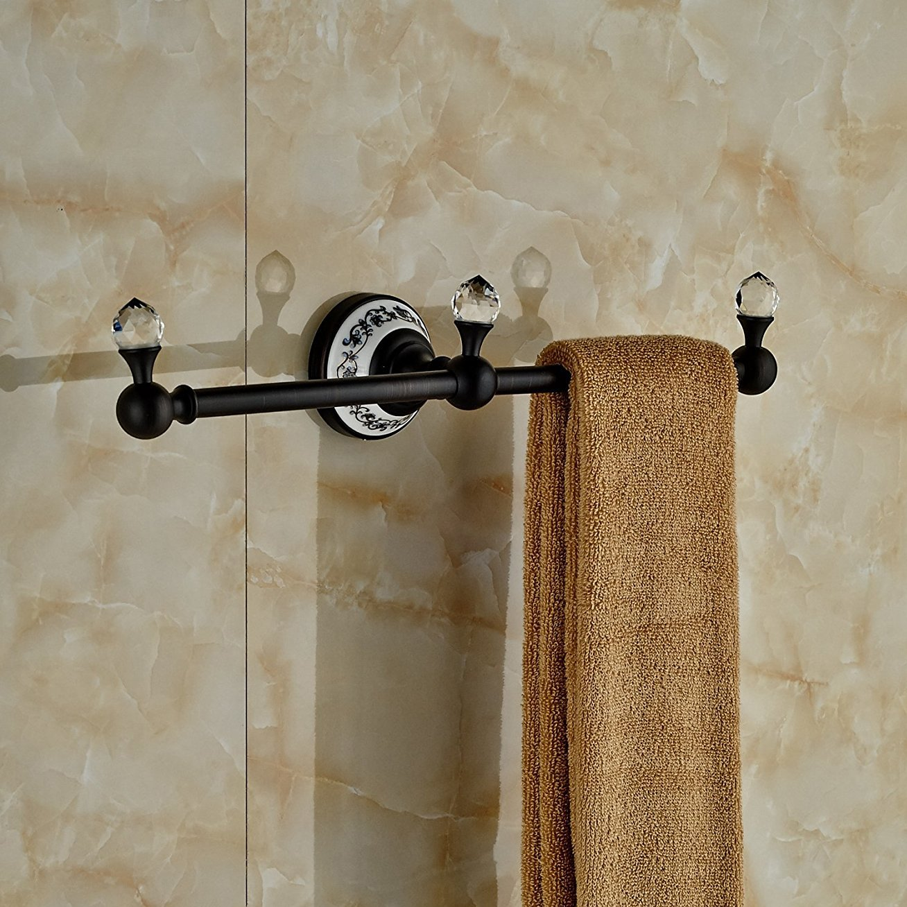 Luxury Crystal Deco Bath Towel Bar Wall Mounted Towel Rac Hanger (Oil Rubbed Bronze)