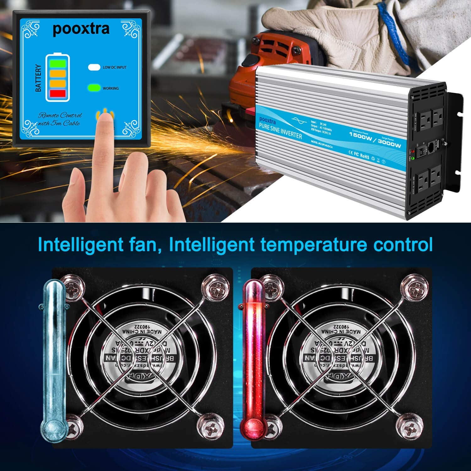 Surge 3000W pooxtra Pure Sine Wave 1500W Ⅲ Power Inverter 24V to 110V//120V Converter with 4 AC Outlets and 2.1A USB Port /& Remote Controller for RV Trucks Boats and Emergency