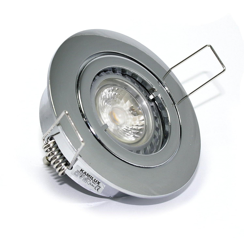 6X Dimmbarer LED Einbaustrahler Lino 230Volt 5Watt GU10 Power LED. Deckenspots Farbe chrom - Lichtfarbe  Kaltweiss 6000K. 5W= 50Watt