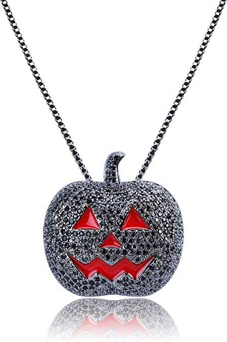 JINAO Full Iced Out Jack OLantern Halloween Simulated Lab Diamonds Pumpkin Pendant Necklace