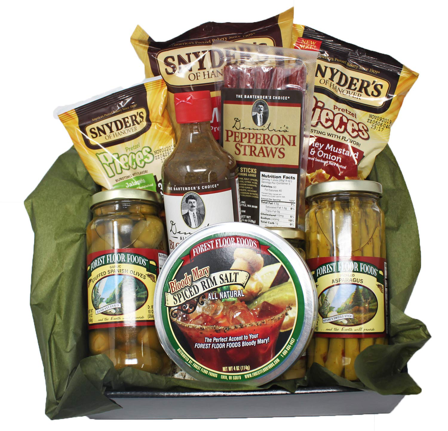 Demitri's Bloody Mary Mix Gift Set. Extra Horseradish Seasoning Concentrate, Olives, and Salty Snacks. Great for the Hard to Buy For.