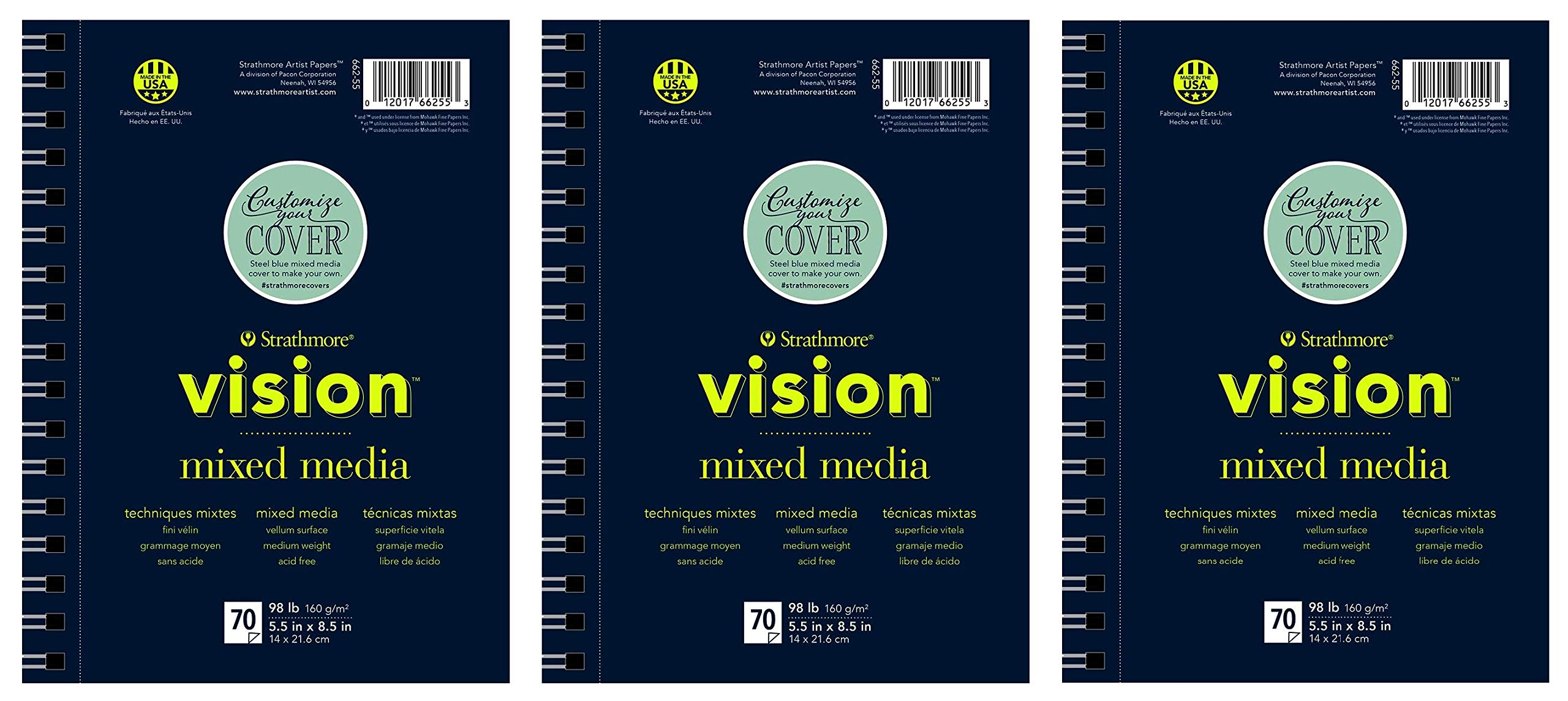 Strathmore 662-57 Vision Mixed Media Pad, 7''x10'', White, 70 Sheets (Тhrее Pаck) by Strathmore