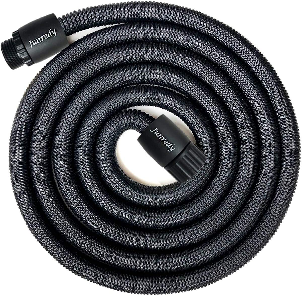 Junredy 25ft Water Hose, Expandable Garden Hose, Flexible Expanding Pressure Water Hose, 3-Layers Latex Core, Extra Strength Fabric,for Your Watering Needs (Black)