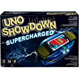 Mattel Games UNO Showdown Supercharged Family Card Game with 112 Cards and Showdown Supercharged Unit for Ages 7 Years Old an