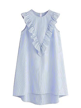b718b86161728 Floerns Women's Vertical Striped Ruffle Front Tunic Dress at Amazon ...