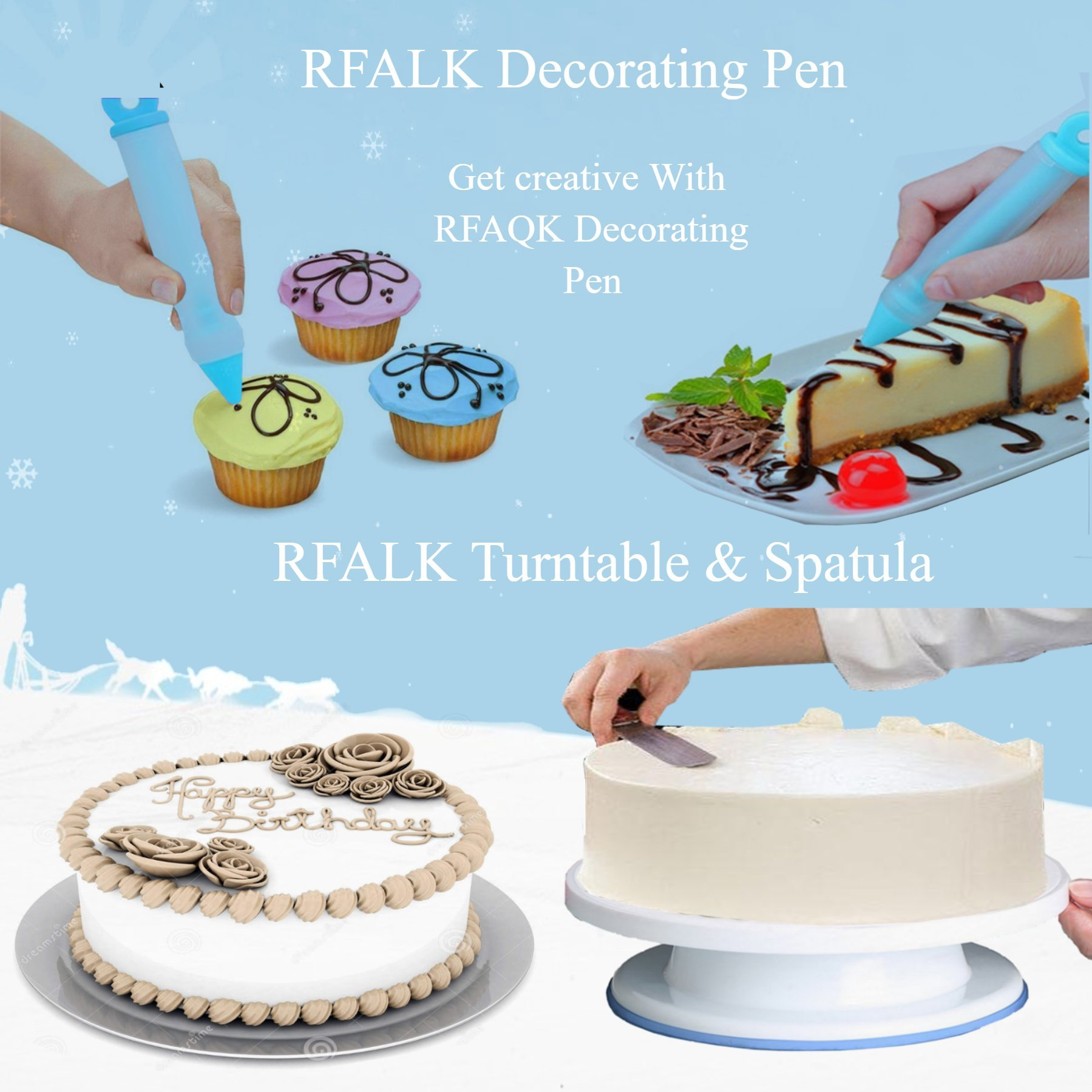 73 pcs Cake Decorating Supplies Kit for Beginners-1 Turntable stand-24 Numbered Easy to use icing tips with pattern chart and E.Book-1 Cake Leveler-Straight and Angled Spatula-3 Russian Piping nozzles by RFAQK (Image #6)