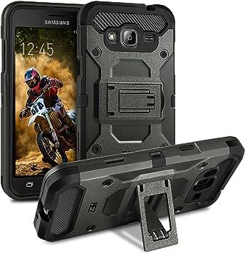 BEZ® Coque pour Samsung Galaxy J3 [2015/2016], Etui Housse Samsung Galaxy J3 2016 Antichoc Militaire Heavy Duty Shock Proof Survivor - Gris Foncé