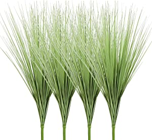 "Ivalue 27"" Artificial Plants Onion Grass Greenery PVC Grass Stems Fake Wheat Grass Bushes Indoor Outdoor Home Garden Décor Pack of 4 (4, 27"")"
