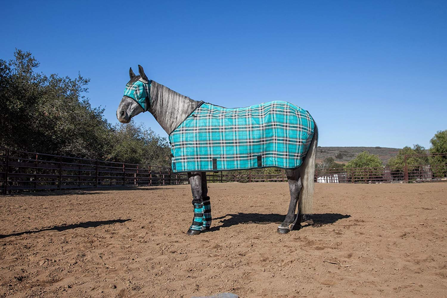 Kensington Pony Protective Fly Sheet - Protection Against UV Rays and Insect Bites- Air Permeable Textilene Mesh Fabric, Black Ice Plaid, Size 54
