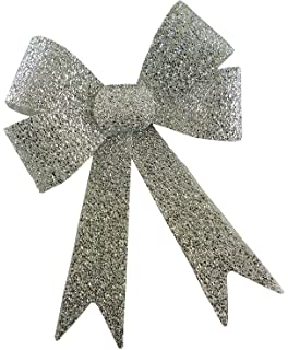 Toyland/® White Christmas Light Up Glitter Bow With White Lights 29 X 43 CM