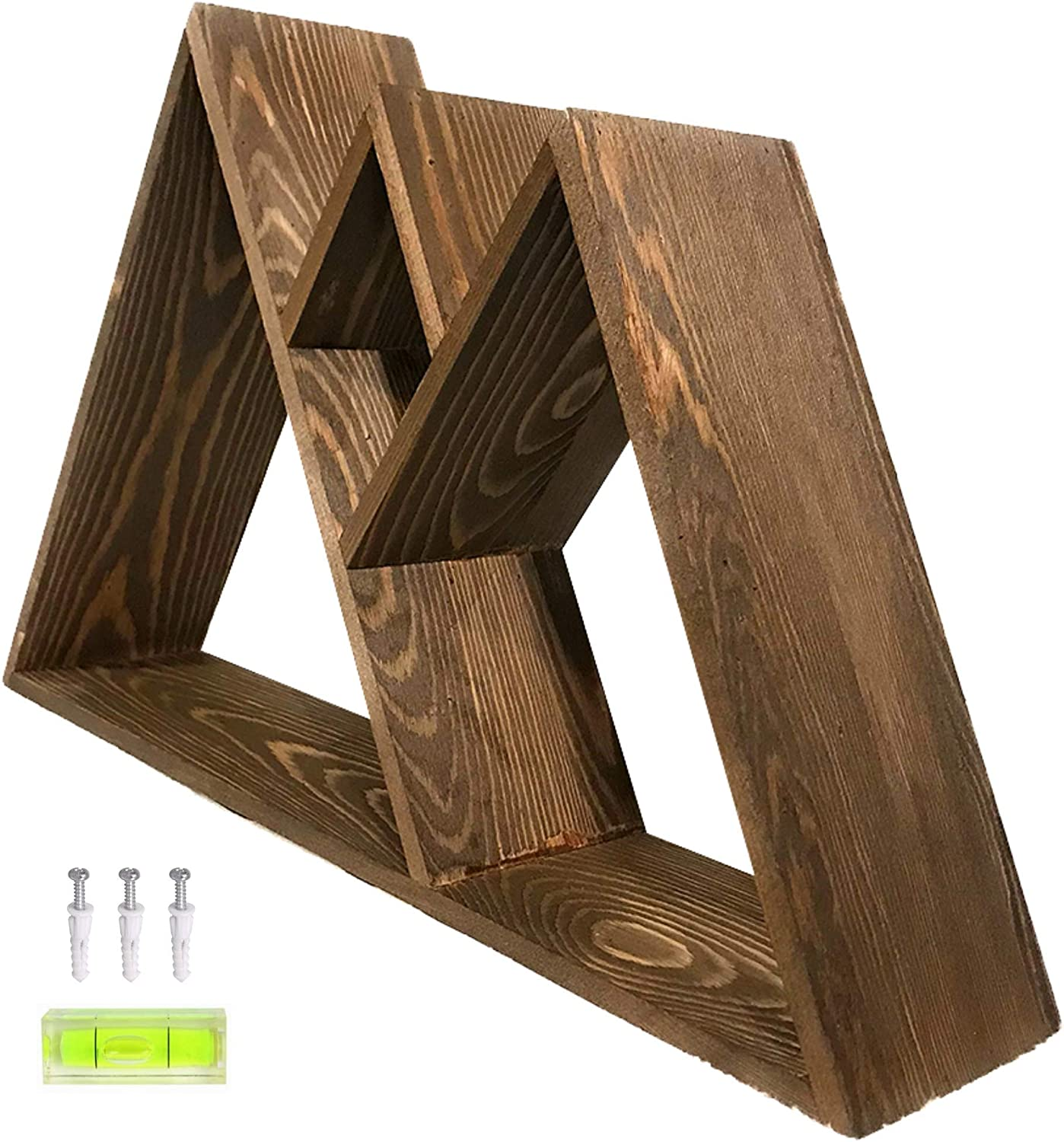 Nomnu Wooden Mountain Shelf - Floating Mountain Decor for Wall or Table Top - with Hanging Hardware - Rustic Wood Triangle Shelves for Home and Plant Display