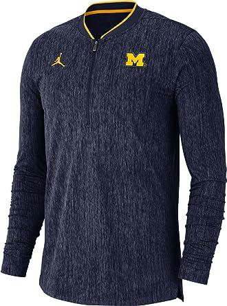 Michigan Jordan Gear >> Amazon Com Jordan Men S Michigan Wolverines Blue Coach Half Zip