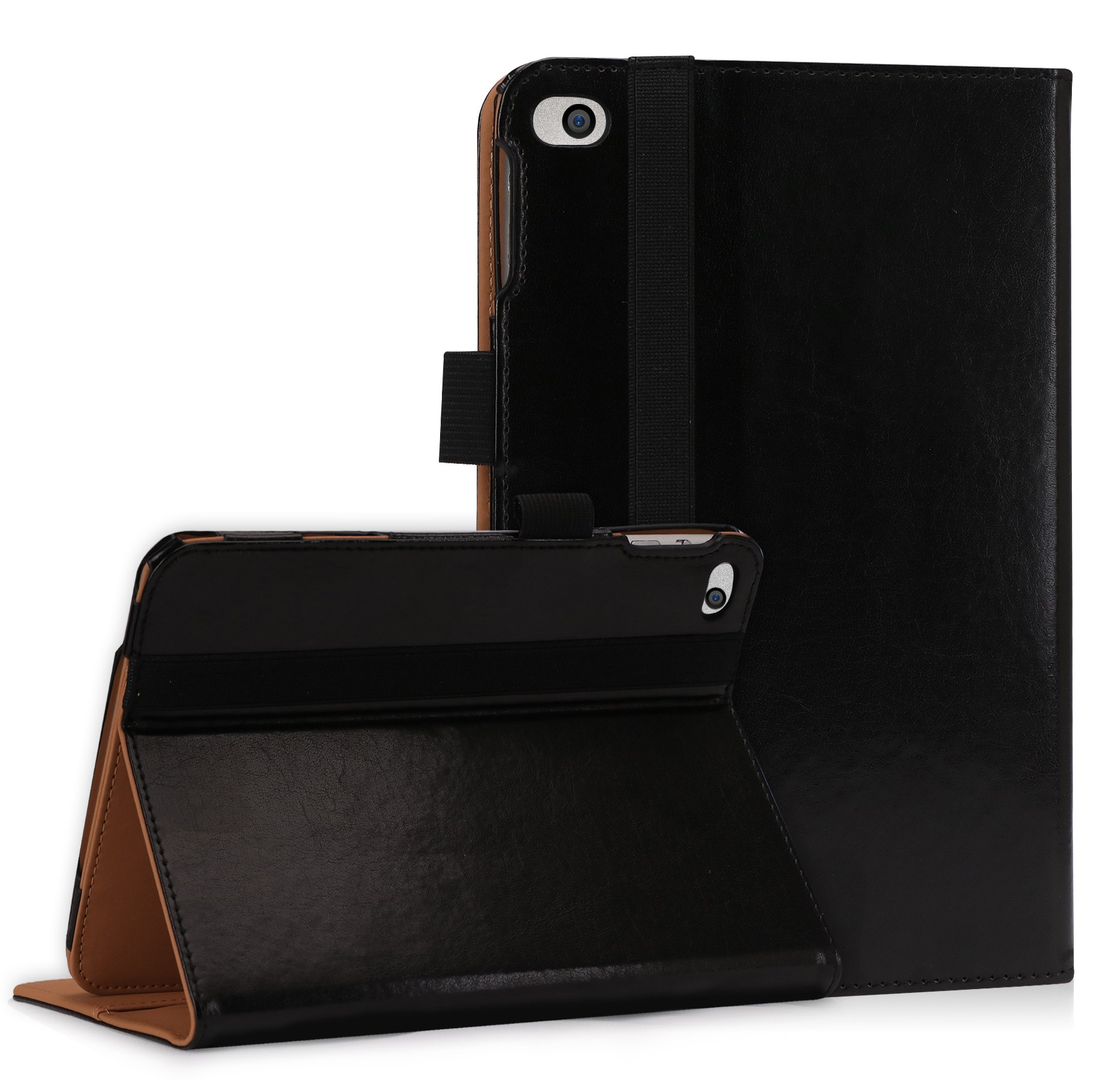 FYY Case for iPad Mini 4 - [Super Functional Series] Premium PU Leather Case with Card Slots, Note Holder, Hand Strap and Elastic Strap for Apple iPad Mini 4 Black (With Auto Wake/Sleep Feature)