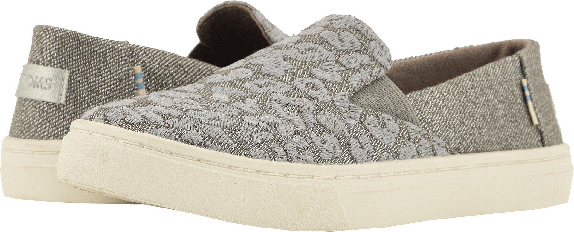 TOMS Youth Luca Cotton Slip-On, Size: 3.5 M US Big Kid, Color Ntrl Grey CHT Emb/Twill Gl