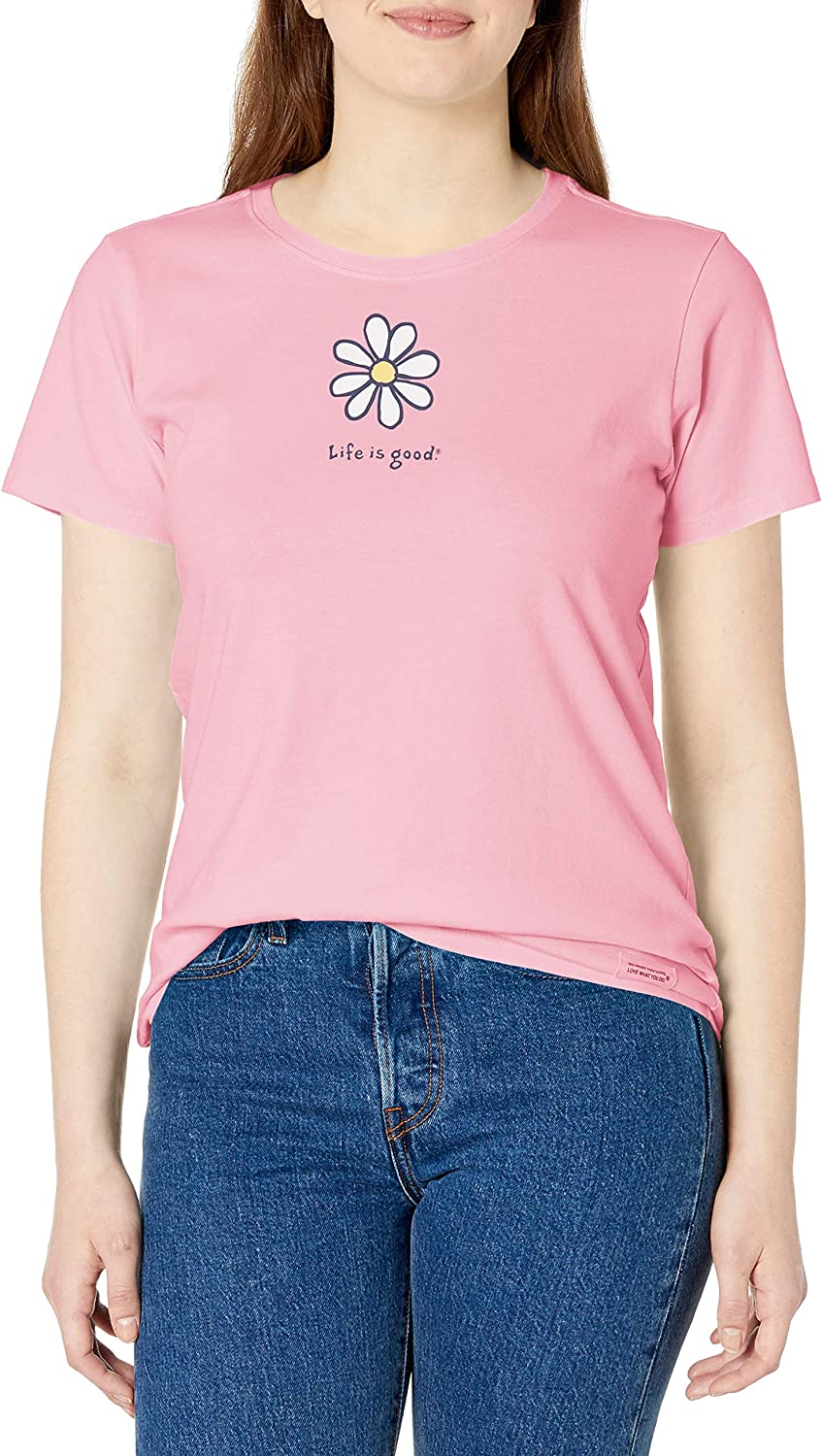 Life Is Good. Womens Crusher Tee Lig Daisy, Happy Pink