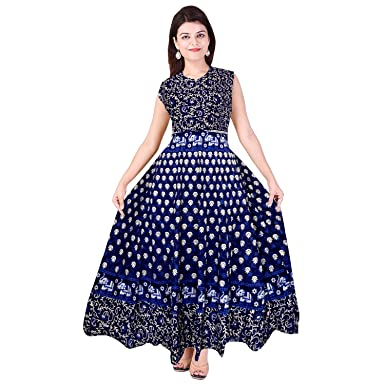 b24648486f Mudrika Women's Jaipuri Print Cotton Maxi Long Dress (FR_3641, Multicolour,  Free Size): Amazon.in: Clothing & Accessories