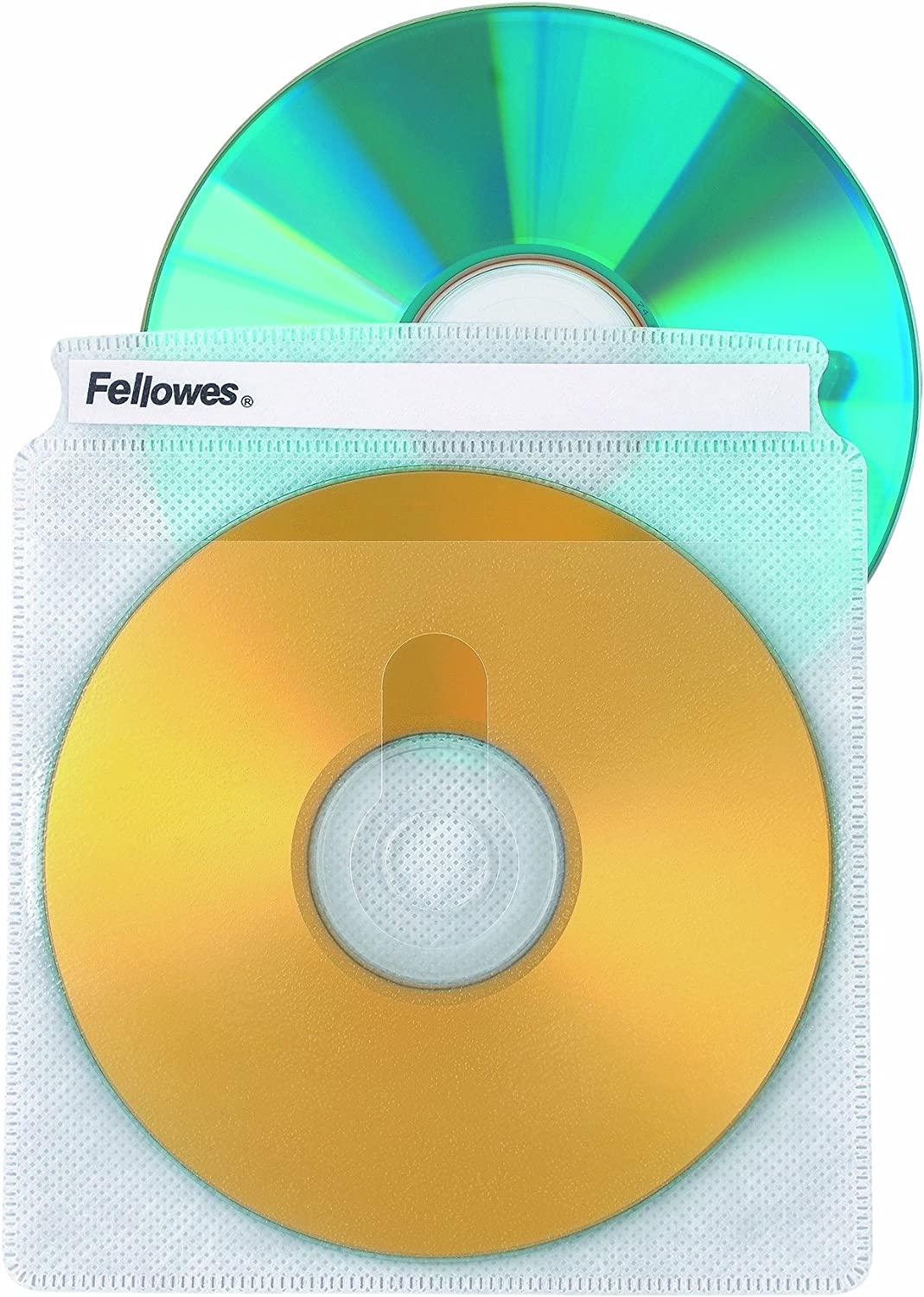 Fellowes CD Sleeves 100 CD Capacity Clear Vinyl Double Sided-50-Pack