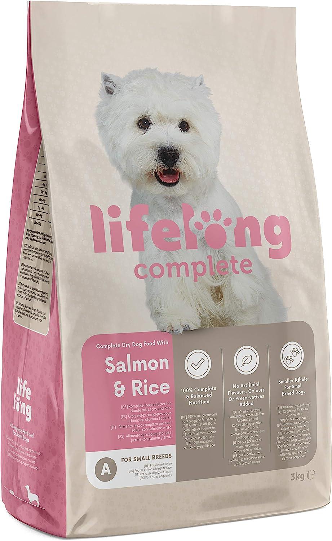 Marca Amazon - Lifelong Complete- Alimento seco completo para perros (razas pequeñas) con salmón y arroz, 3 x 3 kg