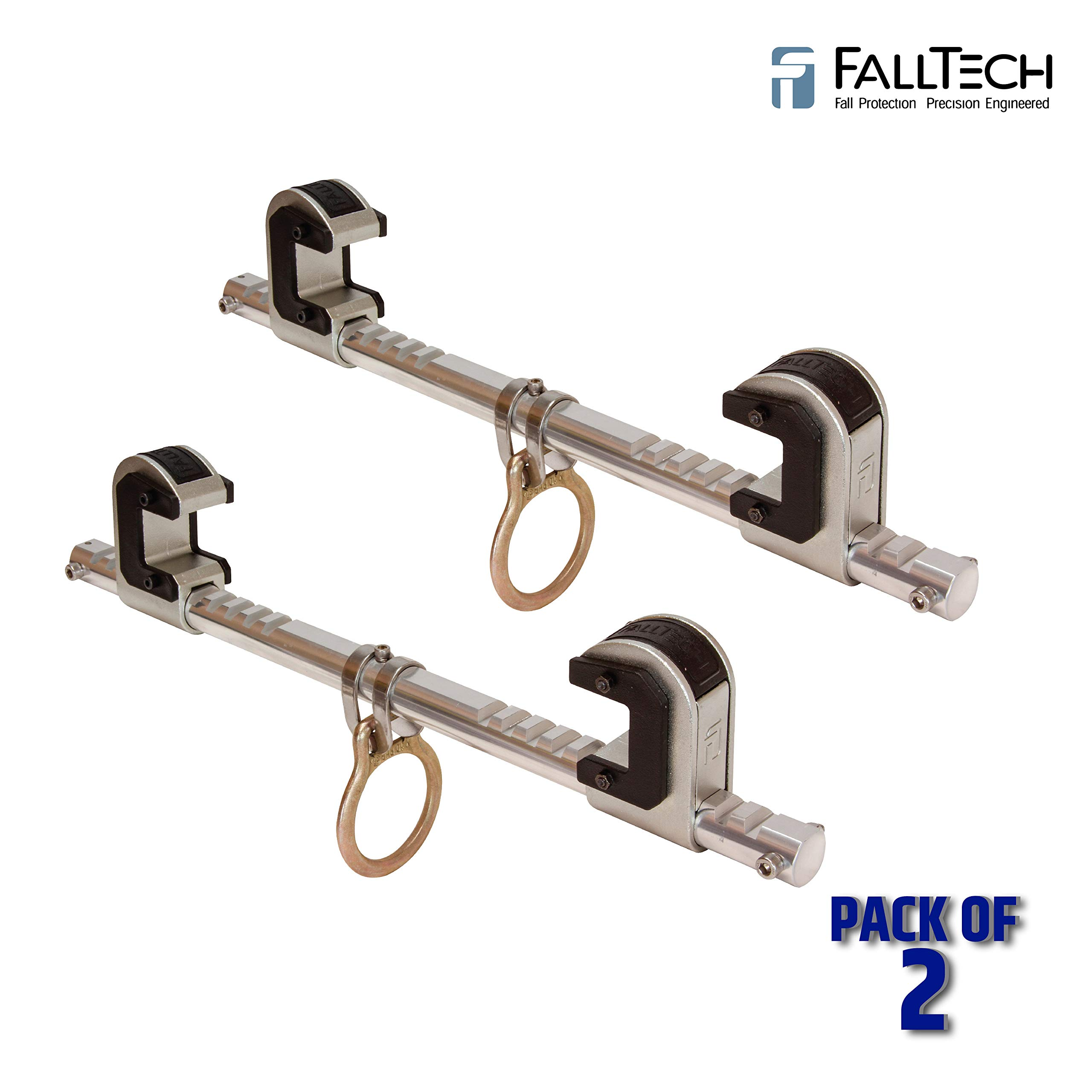 FallTech 7530 Steel, Trailing Beam Clamp Steel - Dual Ratcheting for Centering on I-beam, Machined Aluminum Bar, Steel Jaws w/Slider Pads, 4'' to 14'' (2 Pack) by FallTech