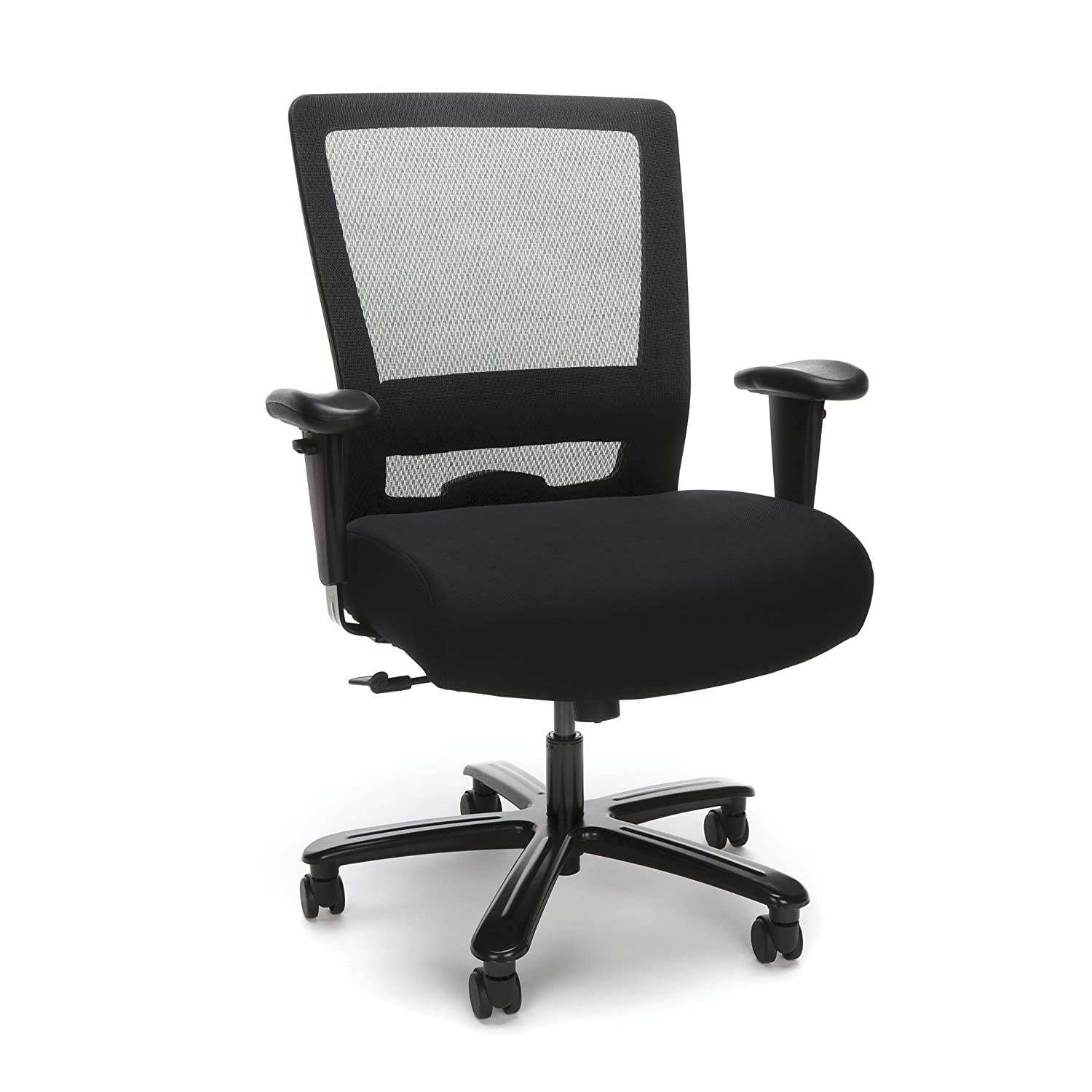 Pleasant Essentials Big And Tall Ergonomic Chair Fabric And Mesh Office Chair With Adjustable Arms Black Ess 3049 Blk Home Interior And Landscaping Transignezvosmurscom