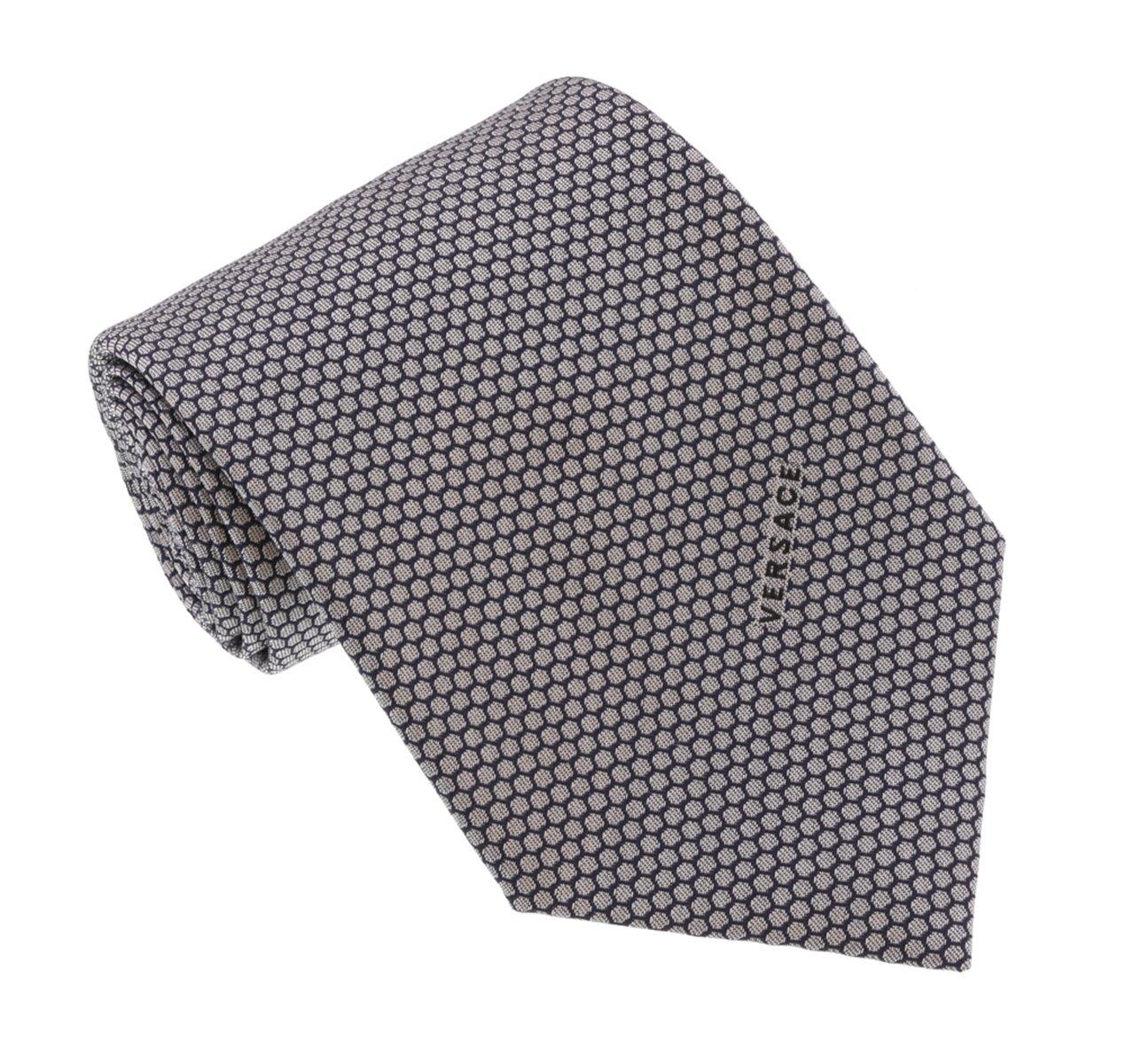 Versace Light Grey Woven Honeycomb Tie by Versace