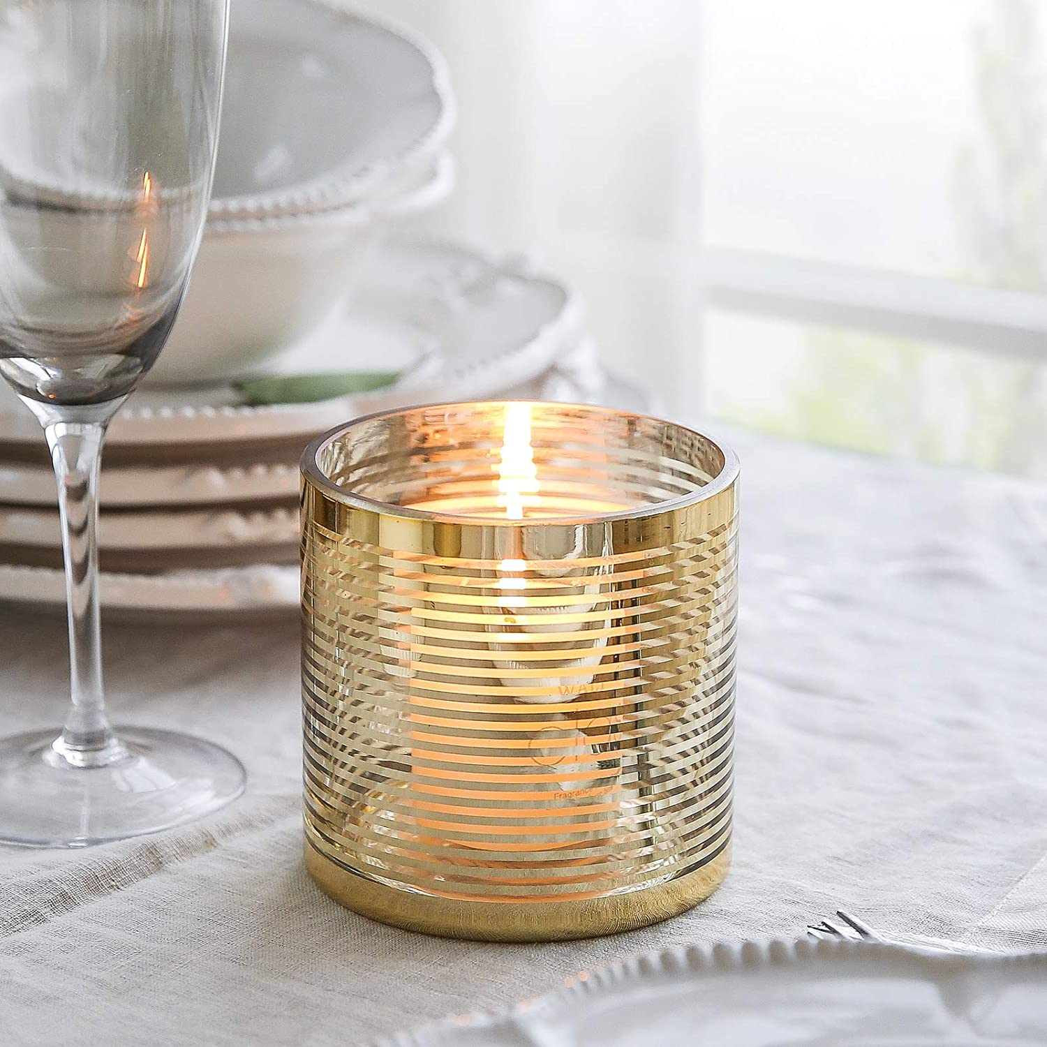cyl home Hurricane Candleholders Clear Glass with Unique Golden Striped Decor Dining Table Centerpieces Cylinder Vases Gifts for Wedding Housewarming Christmas Party,3.9'' Height.