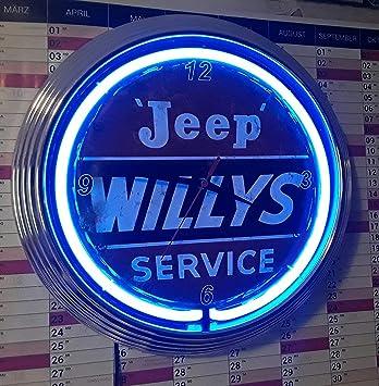 Neon Clock Neonuhr Jeep Willys Service Wanduhr Beleuchtet Mit Blauen
