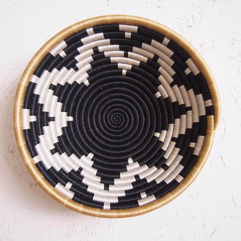 White African Basket Gatare//Rwanda Basket//Woven Bowl//Sisal /& Sweetgrass Basket//Blue-Gray