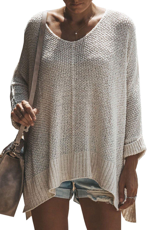 HHGKED Womens Off Shoulder Sweaters Long Sleeve Pullover V Neck Loose Oversized Knit Jumper